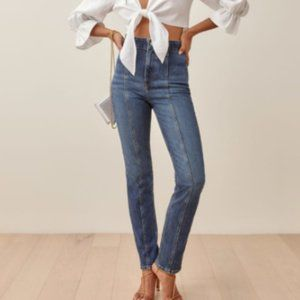 Reformation Amie High Rise Seamed Denim Jeans